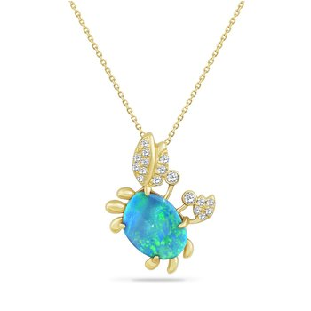 "14K CRAB PENDANT WITH 1 OPAL 2.35C & 17 DIAMONDS 0.22C  18"" CHAIN"