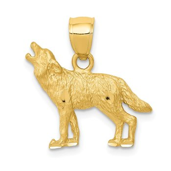 14K Diamond-cut Wolf Pendant