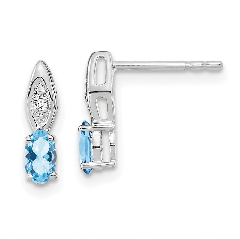Quality Gold 14k White Gold Aquamarine and Diamond Post Earrings