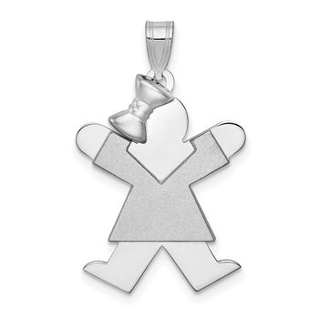 14k White Gold Medium Girl w/Bow on Left Engravable Charm