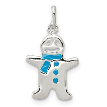 Sterling Silver Polished Enamel Gingerbread Man Pendant
