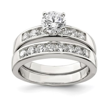 Sterling Silver Rhodium Plated 2-Piece CZ Wedding Ring Set
