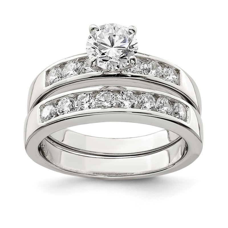 Quality Gold Sterling Silver Rhodium Plated 2-Piece CZ Wedding Ring Set