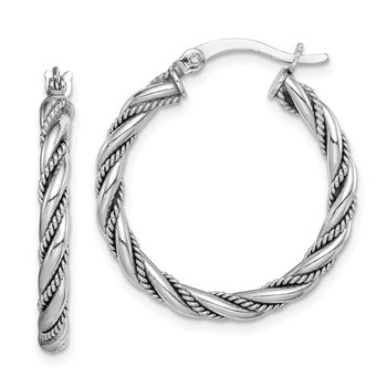Sterling Silver Rhodium-plated 2.5x25mm Twisted Hoop Earrings