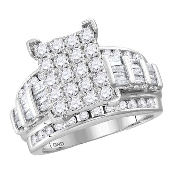 10kt White Gold Womens Round Diamond Cindys Dream Cluster Bridal Wedding Engagement Ring 3.00 Cttw