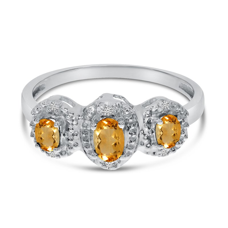 Color Merchants 10k White Gold Oval Citrine And Diamond Three Stone Ring