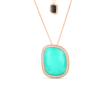 18Kt Gold Pendant With Agate, Black Jade And Diamonds
