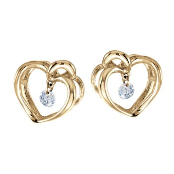 14K Yellow Gold .16 ct Diamond Heart Dashing Diamonds Earrings