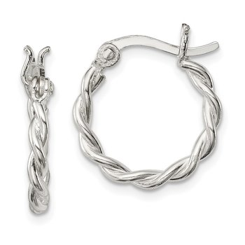 Sterling Silver Satin Twisted 2mm Hoop Earrings