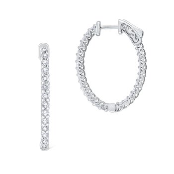 14K Diamond Inside Out Oval Hoops