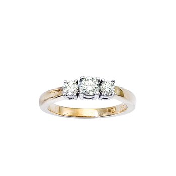 14k Yellow Gold 1/2 ct 3 Stone Diamond Ring