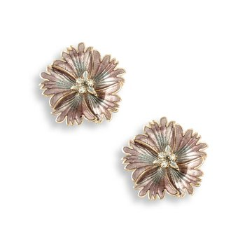 Purple Sweetness Flower Stud Earrings.Rose Gold Plated Sterling Silver-White Sapphires