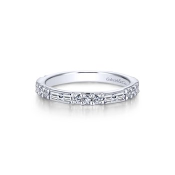 14k White Gold Round & Baguette Diamond Stackable Ring