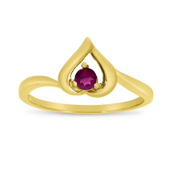 14k Yellow Gold Round Rhodolite Garnet Heart Ring