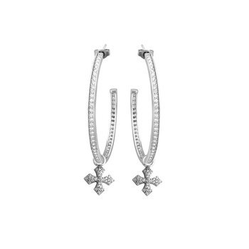 Large Hoops With Mb Cross Drop - Silver And White Cz Pave
