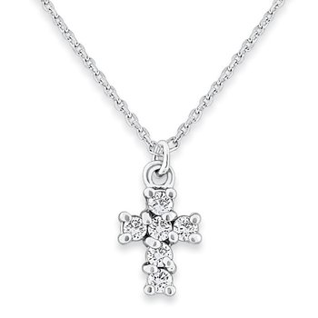 Diamond Cross Necklace in 14k White Gold with 6 Diamonds weighing .16ct tw.
