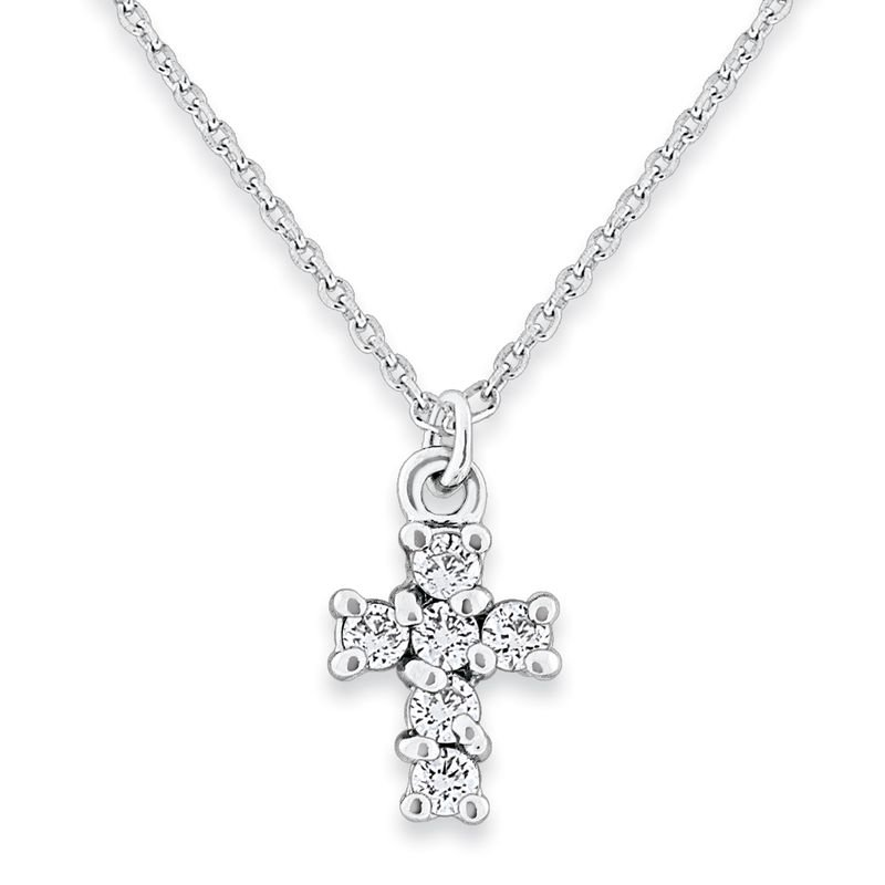 MAZZARESE Fashion Diamond Cross Necklace in 14k White Gold with 6 Diamonds weighing .16ct tw.