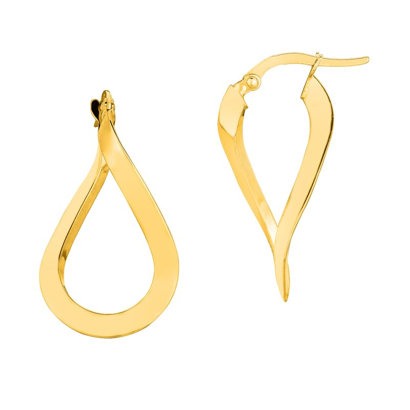 Royal Chain 10K Gold Polished Freeform Hoop Earring
