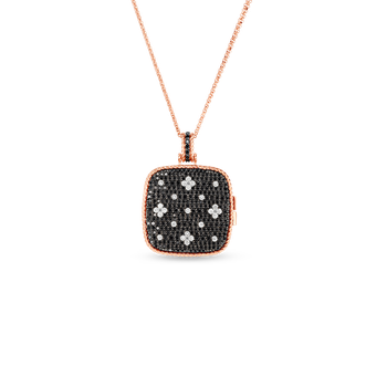 18KT BLK & WHITE DIAMOND LOCKET PENDANT