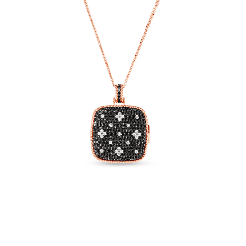 Roberto Coin 18Kt Blk & White Diamond Locket Pendant