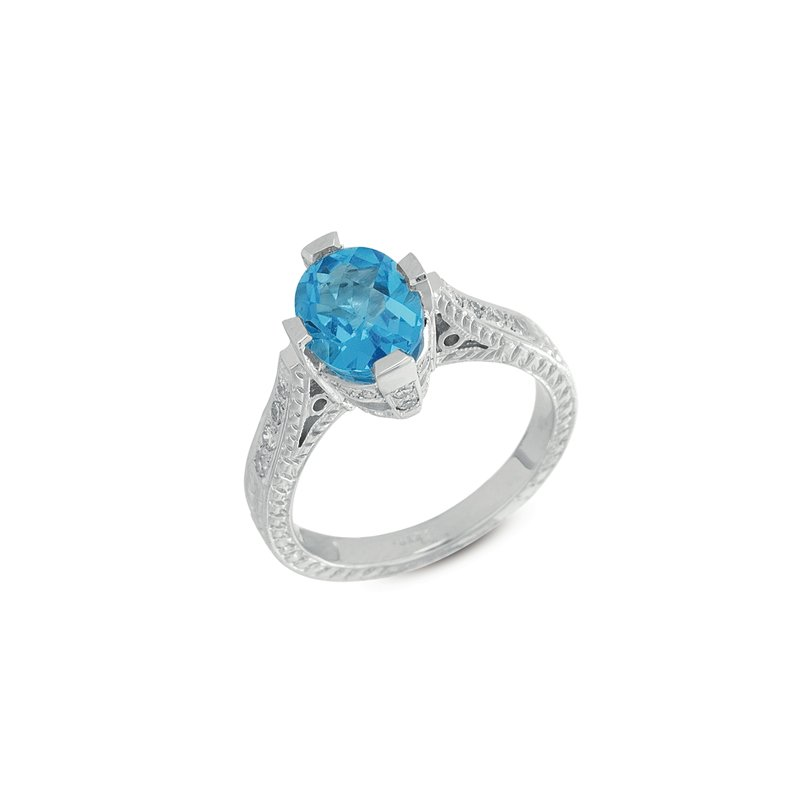 S. Kashi  & Sons Blue Topaz & Diamond Ring
