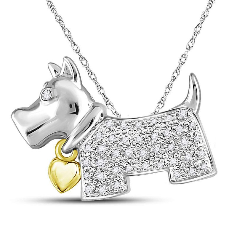Kingdom Treasures Sterling Silver Womens Round Diamond Terrier Puppy Dog Animal Pendant 1/8 Cttw