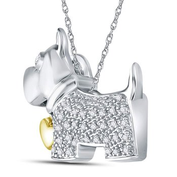Sterling Silver Womens Round Diamond Terrier Puppy Dog Animal Pendant 1/8 Cttw