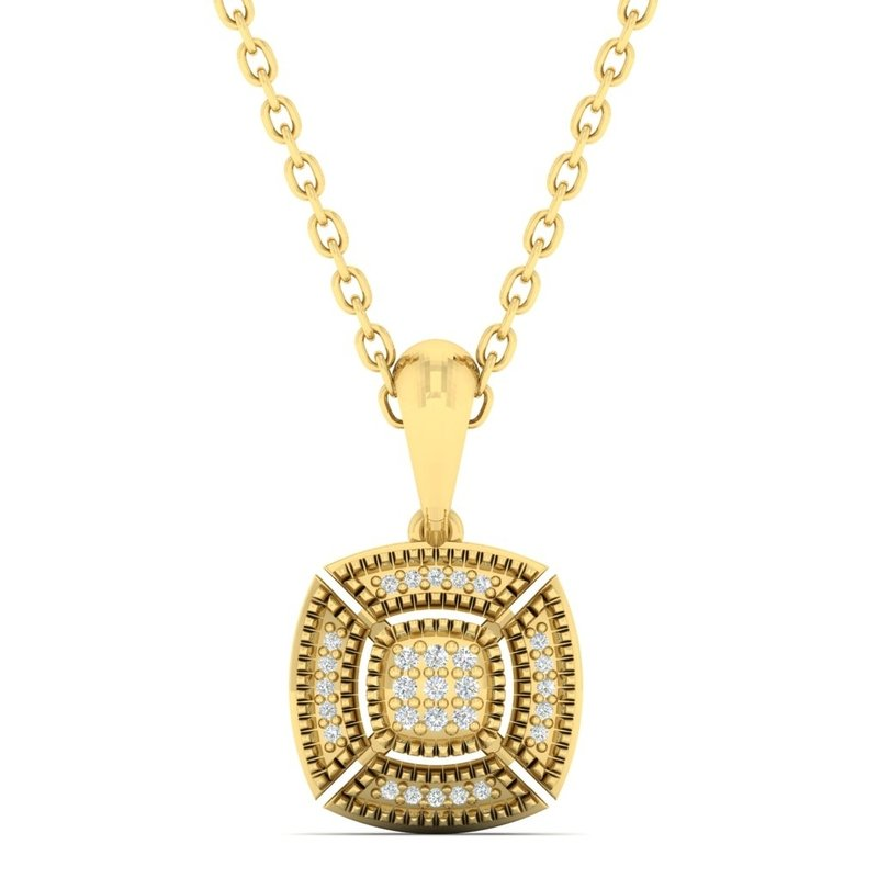Gems One Diamond Cushion Medallion Vintage Pendant Necklace in 14k Yellow Gold (0.05ctw)