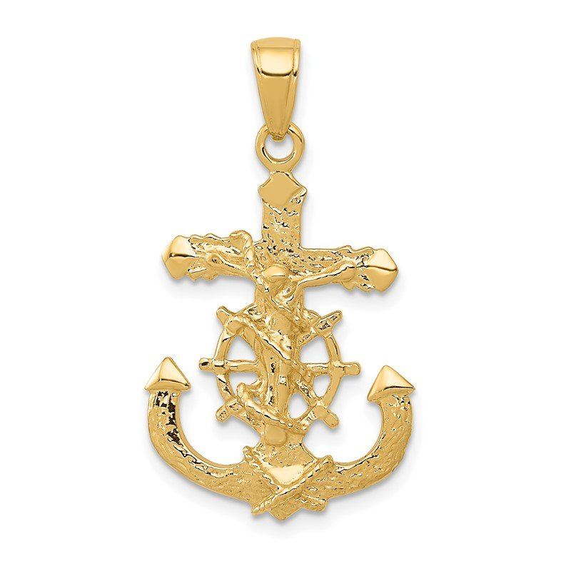 Quality Gold 14K Polished Textured Mariners Crucifix Rope/Wheel Pendant