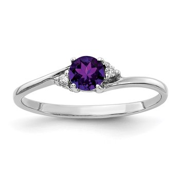 14k White Gold 4mm Amethyst A Diamond ring