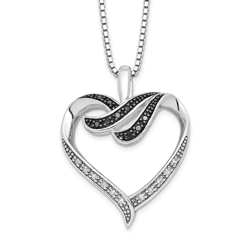 Quality Gold Sterling Silver Rhod Plated Black & White Diamond Pendant Necklace