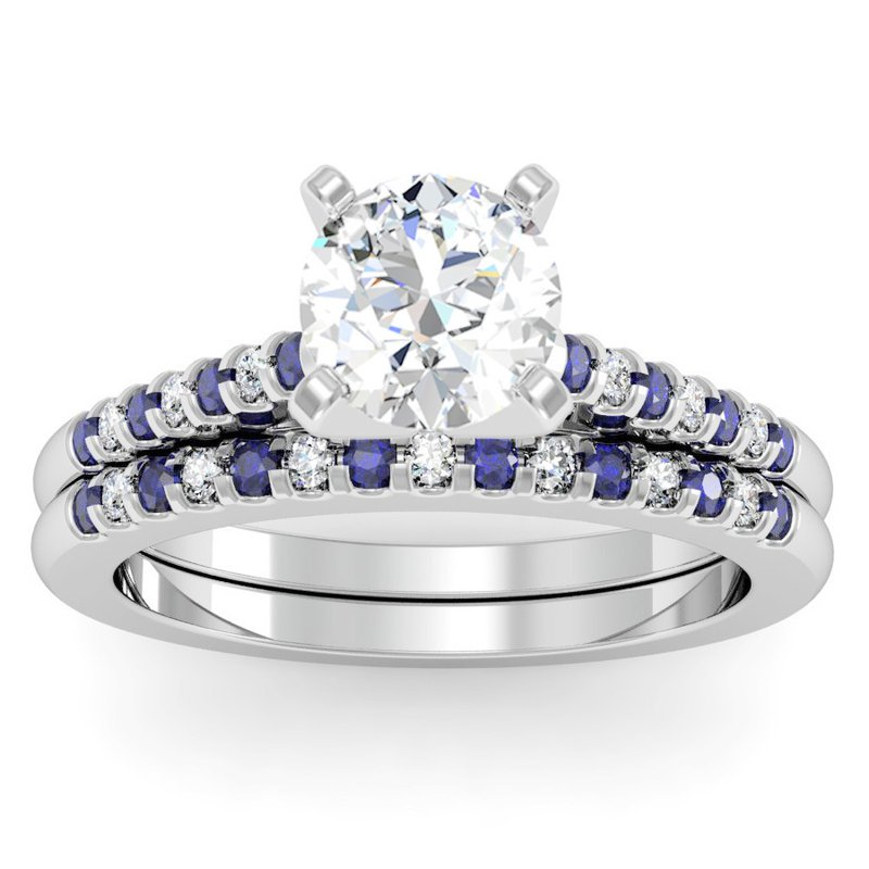 California Coast Designs Cathedral Channel Set Blue Sapphire & Diamond Engagement Ring with Matching Wedding Band