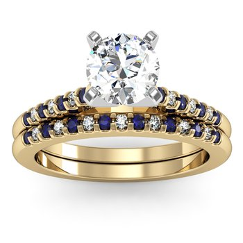 Cathedral Channel Set Blue Sapphire & Diamond Engagement Ring with Matching Wedding Band
