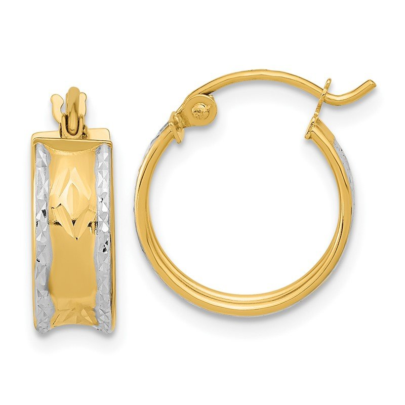 Quality Gold 14k & White Rhodium Polished & D/C Hoops
