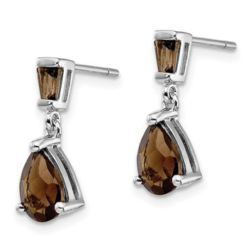 14k White Gold Smoky Quartz Dangle Post Earrings