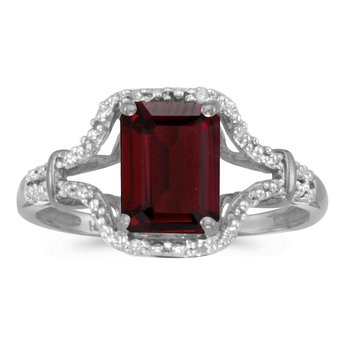 10k White Gold Emerald-cut Garnet And Diamond Ring
