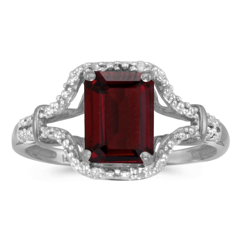 Color Merchants 10k White Gold Emerald-cut Garnet And Diamond Ring