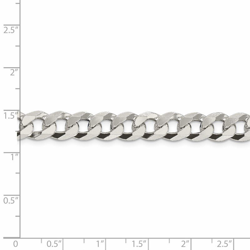 Quality Gold Sterling Silver 8.5mm Beveled Curb Chain