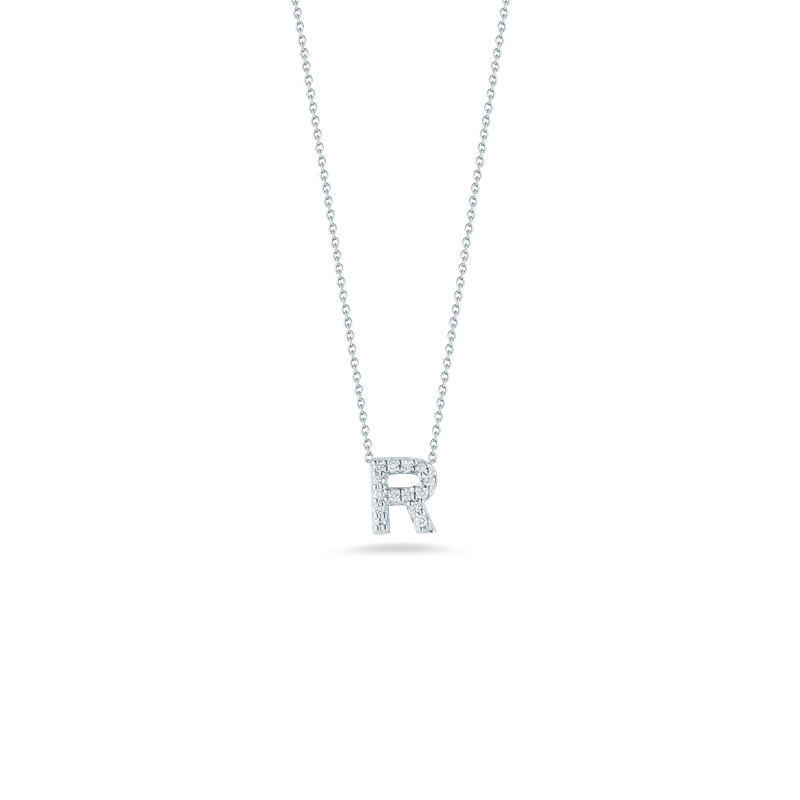 Roberto Coin 18Kt Gold Love Letter R Pendant With Diamonds