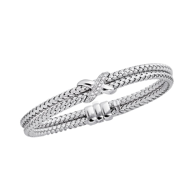 Royal Chain 14K Gold .18ct Diamond Station Woven Bangle