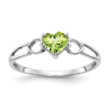 10k White Gold Polished Geniune Peridot Birthstone Ring