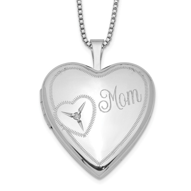 Quality Gold Sterling Silver Rhodium-plated 20mm Mom Diamond Heart Locket Necklace