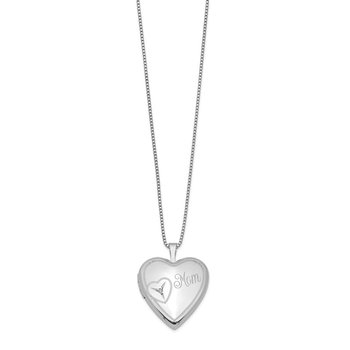 Sterling Silver Rhodium-plated 20mm Mom Diamond Heart Locket Necklace