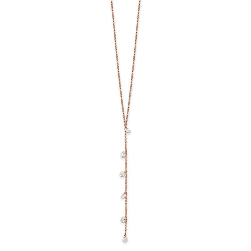 J.F. Kruse Signature Collection Sterling Silver Rose-tone CZ Dangle w/ 2in ext. Necklace