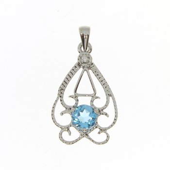 14k White Gold Round Open Fligree Blue Topaz And Diamond Pendant
