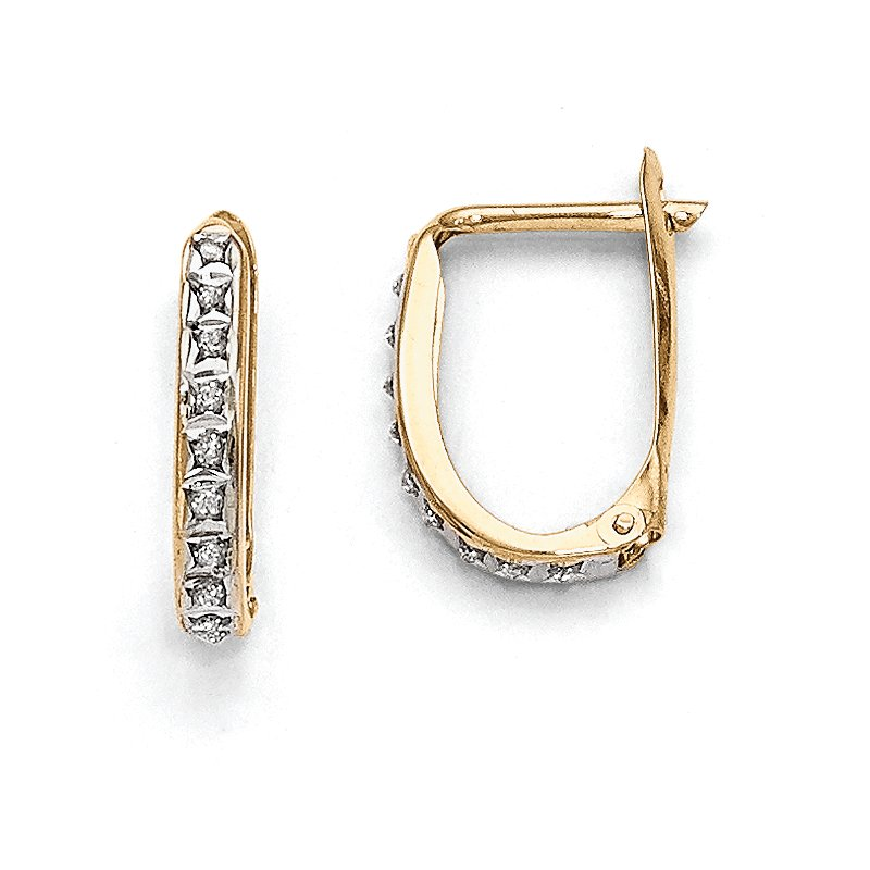 Lester Martin Online Collection 14k Diamond Fascination Leverback Hinged Hoop Earrings