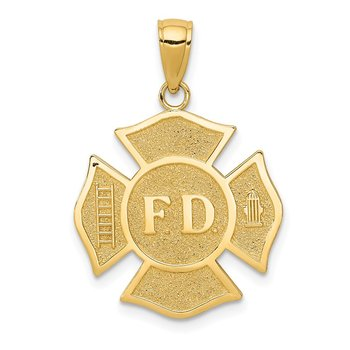 14k Fire Department FD Badge Pendant