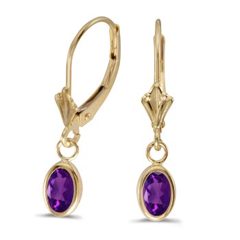 14k Yellow Gold Oval Amethyst Bezel Lever-back Earrings