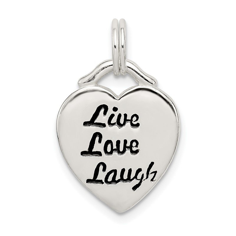 Quality Gold Sterling Silver LIVE LAUGH LOVE Heart Pendant