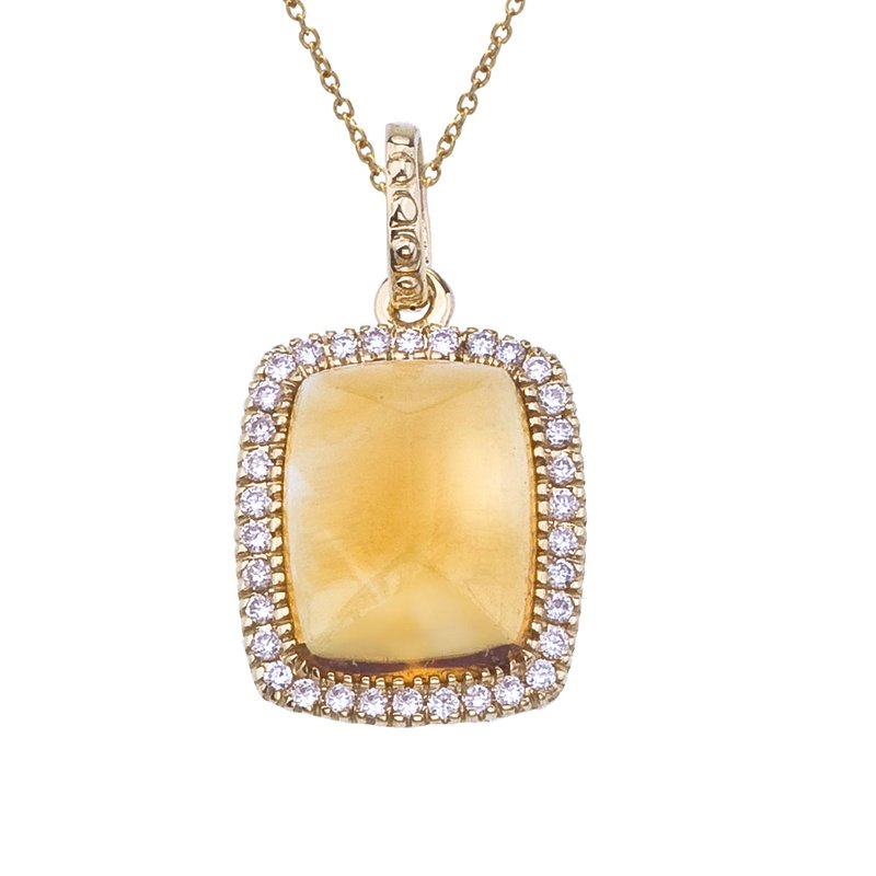 Color Merchants 14K Yellow Gold Cabochon Citrine and Diamond Pendant
